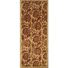 Handmade Rectangular Vine and Floral Runner Area Rug in Gold, 2x8 area rugs