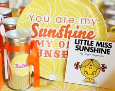 Super cute birthday theme idea - You are my Sunshine. Lots of cute ideas for this party on her site.