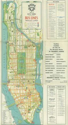 1941 Manhattan bus map