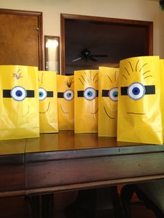Adorable minion goody bags easily hand made for a Despicable birthday party!