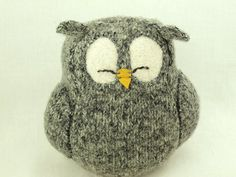 Grey Sleepy Owl  Felted Wool Lamb Wool Stuffing by ForMyDarling, $29.00
