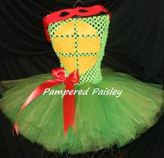 Teenage Mutant Ninja Turtles inspired Raphael tutu dress - girl ninja turtle - Halloween ideas size newborn to 4t - costume on Etsy, $34.95
