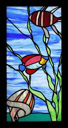 ART DECO FISH STAINED GLASS WINDOW TRULY AMAZING 1930'S | eBay