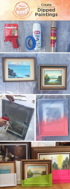 Make vintage artwork new again by adding a pop of color. Tape off the vintage art and spray paint them with Krylon® paint for a dipped effect. What once was old is new again!