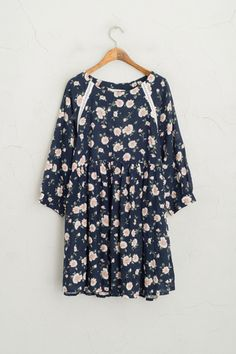 Jasmine Linen Babydoll Dress, Navy