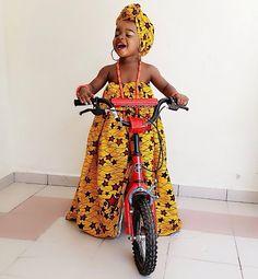 Stylish traditional african fashion looks 7452 Ankara Styles For Kids, African Dresses For Kids, African Children, African Print Dresses, African Wear, African Attire, Girls Dresses, African Prints, African Inspired Fashion