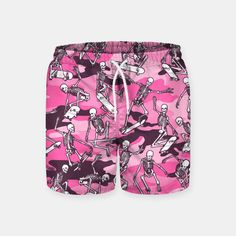 Grim Ripper Skater Camo PINK Swim Shorts, Live Heroes
