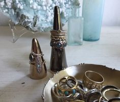 ring cones from upper metal class and west elm Ring Displays, Jewelry Storage, West Elm, Chic, Metal, Rings, Jewellery Storage, Shabby Chic, Jewel Box
