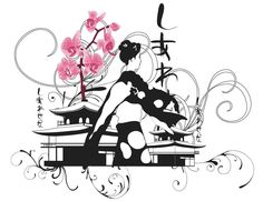 Illustration by Elisabeth Perotin #japan#geisha#illustration#orchids http://septembersbliss.blogspot.fr/