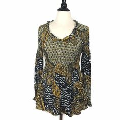 NEW Sharagano Printed Juliette Blouse Black/Gold Womens Top Pullover V-neck NWT #Sharagano #Blouse #Casual