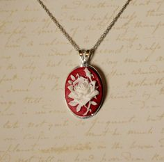 White Rose resin Cabochon on red cameo antique bronze necklace pendant by GreyGyrl, $10.00