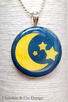 Yellow Moon and Stars Round Glass Pendant/ by ChristineandCodesign, $30.00