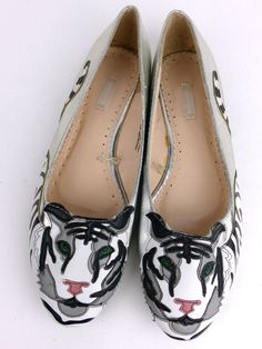 Urban Outfitters Cooperative White Tiger Appliqué Silver Flat Slip On Shoes 8M #CooperativeByUrbanOutfitters #BalletFlats #Casual