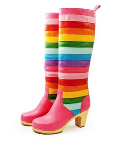 rainbow boots! I may wear these with my Rainbow gown! No one can see them except when I dance and my skirt swirls around my legs and ankles! What'd you think?