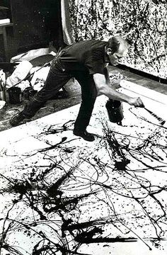 Pollock action painting. being interactive with his art.