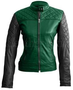 Leather Skin Women Green with Black Sleeves Shoulder Quilted Genuine Leather Jacket Purple Leather Jacket, Green Leather Jackets, Blazers, Leather Skin, Leather Shoes, Jacket Style, Jacket Men, Quilted Leather, High Collar