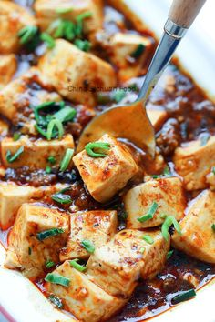 mapo tofu China Sichuan Food Vegetarian Recipes, Cooking Recipes, Healthy Recipes, Mapo Tofu Recipe, Chinese Vegetables, Tofu Dishes, Comfort Food, Asian Cooking, Asian Recipes