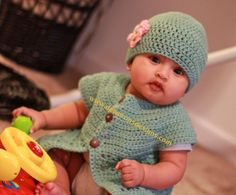 Baby Girl Set Crochet Jacket Sweater Hat with Flower Newborn Baby Toddler Photprop Dewdrops from DewdropsDesign on Etsy. Saved to My Designs. Crochet Jacket, Knit Or Crochet, Crochet For Kids, Crochet Hats, Free Crochet, Crochet Sweaters, Baby Patterns, Crochet Patterns, Crochet Ideas