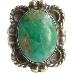 Southwestern Navajo Style Turquoise Ring Size 7 Sterling Silver Signed ET4 Indian Jewelry