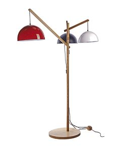 3 Lights Wooden Floor Lamp with Colorful Iron Dome Pendant Shade
