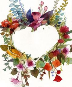 Illustrations by Chun Eun Sil. Vintage Frames, Imagenes Free, Watercolor Flower, Fear Of The Lord, I Love Heart, Heart Wreath, Tips & Tricks, Illustration, Heart Art