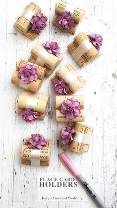 Wine Cork Place Card Holders in 25+ custom colors #winerywedding #vineyardwedding #placecardtable