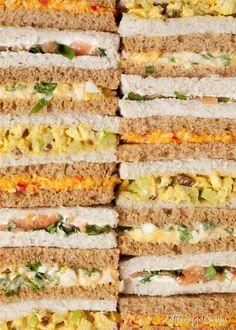 Tea Party Sandwiches Recipes, High Tea Sandwiches, Sandwiches For Parties, Sandwiches Afternoon Tea, English Tea Sandwiches, Finger Sandwiches, Afternoon Tea Party Food, Afternoon Tea At Home, Afternoon Tea Menu Ideas