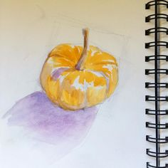 Here's an autumnal #watercolor for the weekly #wabisabi #sketch. #pumpkin #colorful #byhand