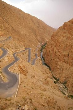 Mountain pass in Dadès River Gorges, between the Atlas Mountains and Anti-Atlas mountain range, in Morocco.