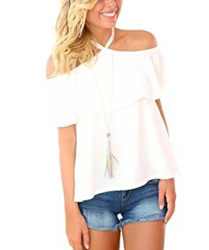 New Trending Crop Tops: Akery Women's Halter Ruffles Off Shoulder T-Shirt Blouse Tops. Special Offer: $13.76 amazon.com Features: Item Type : Tops Tops Type: Tees Material: Cotton,Linen Collar: Slash neck Sleeve Length :Short Decoration: Ruffles Clothing Length: Regular Pattern Type: Solid Sleeve Style: Butterfly Sleeve Size : S, M, L, XL Color: White, Green Akery...