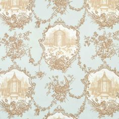 Braemore 'Garden Toile' Fabric in Aqua - with images of gazebos, garden tools & swags of flowers