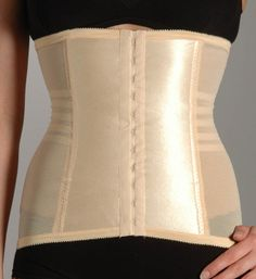 "Rago's ""821"" waist cincher (satin front with no garters attached, Rago 21 has a lace front with four detachable garters)."