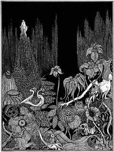 """But there was no voice throughout the vast illimitable desert. Harry Clarke, Illustration for """"Silence–A Fable"""" from Edgar Allan Poe's Tales of Mystery and Imagination, 1923 (source). Harry Clarke, Edgar Allan Poe, Art And Illustration, Book Illustrations, Art Postal, Aubrey Beardsley, Arte Obscura, Irish Art, You Draw"""