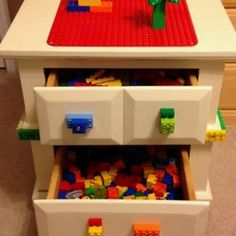 Lego storage using an old bedside table.