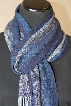 Fabulous! — Fine Handwoven Hand Made Scarf.  Wool Silk and Bamboo Fibers.  Silver and Blues, Navy.