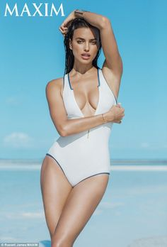 Taking the plunge: Irina oozed sex appeal in a plunging one-piece in the latest issue of the magazine