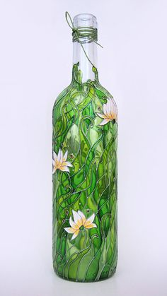 Hand painted bottle - Summer meadow
