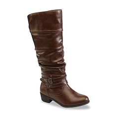 Bongo Women's Peyton Cognac Knee-High Fashion Boot - Extended Calf/Wide Width Available