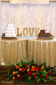 Willow Creek Wedding & Event Venue - Wedding Cakes in front of light curtain.
