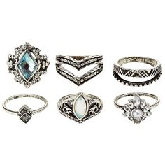 Charlotte Russe Embellished Stacking Rings - 6 Pack ($5.99) ❤ liked on Polyvore featuring jewelry, rings, silver, charlotte russe, silver stackable rings, silver jewellery, cabochon jewelry and cabochon ring