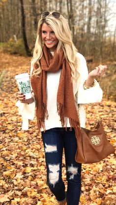 #fall #outfits brown scarf and white long sleeves