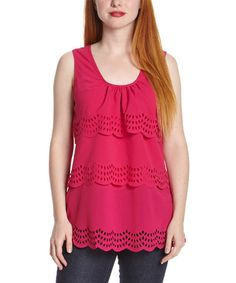 Look what I found on #zulily! Fuchsia Eyelet Scoop Neck Tank by Simply Irresistible #zulilyfinds