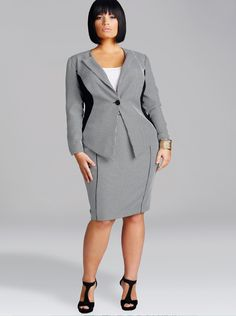 1b7bfcf7f341 Nadine Houndstooth Suit by Monif C. Plus Size Suits, Plus Size Dresses, Work