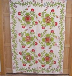 Antique 1800s Whig Rose Applique Quilt Red Green Vines Berries Kelius Estate | eBay