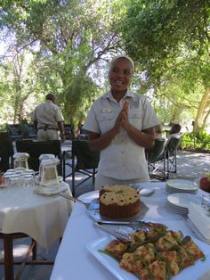 Delicious #safari cuisine served on the open-air patio overlooking #CampOkavango's lush gardens  #Botswana, #Africa