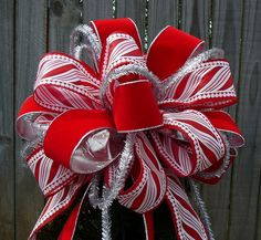 Tree Top Bow for Christmas - Large Fun Tree Topper in Red White and Silver - Candy Stripe - Fun Christmas Tree Topper Elf Christmas Decorations, Christmas Tree Tops, Christmas Bows, Holiday Tree, All Things Christmas, Christmas Time, Christmas Crafts, White Christmas, Christmas Ideas