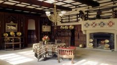 Wrexham - View of the Cromwell Hall at Chirk Castle, part of the Myddelton family home, with its Pugin decoration and civil war arms and armour  http://nationaltrust.org.uk/chirk-castle/