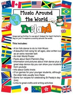Fun St Patrick's Day Around the World pack. new Update coming by Monday Elementary Music Lessons, Elementary Schools, Irish Songs, Around The World Theme, Middle School Music, World Thinking Day, Music Lesson Plans, Music Education, Health Education