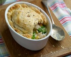 Tenderstem, Shallot, Sweetcorn and Tarragon Chicken Pot Pies by (Broccoli, Chicken, Sweetcorn) Food Network Uk, Food Network Recipes, Calzone, Tarragon Chicken, Broccoli Chicken, Good Food Channel, Easy Chicken Pot Pie, Chicken Meals, Oven Baked