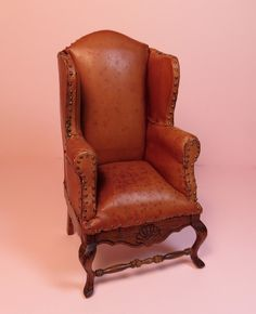 Miniature Leather Wing Chair 1:12 scale http://PatriciaPaulStudio.blogspot.com